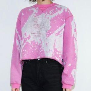 Reclaimed Bleach Dyed Crop Sweatshirt